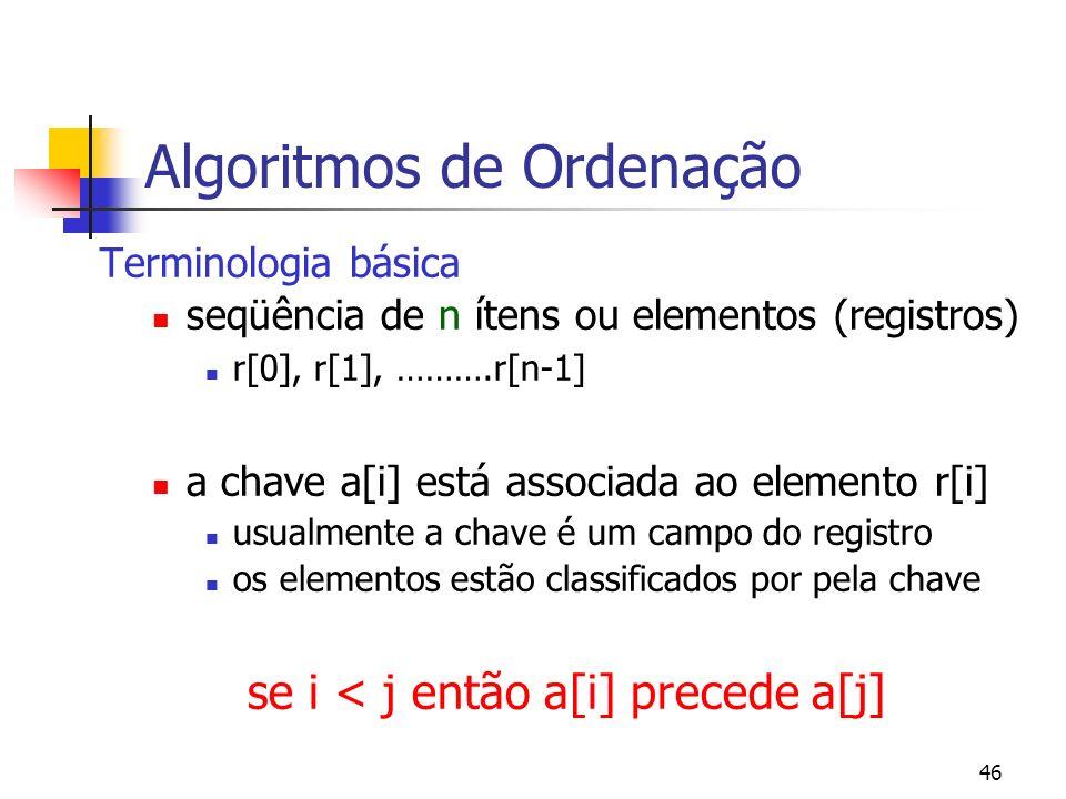 46 Algoritmos de Ordenação Terminologia básica seqüência de n ítens ou elementos (registros) r[0], r[1], ……….r[n-1] a chave a[i] está associada ao elemento r[i] usualmente a chave é um campo do registro os elementos estão classificados por pela chave se i < j então a[i] precede a[j]