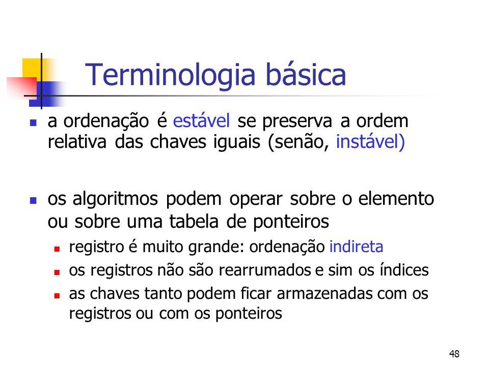 48 Terminologia básica a ordenação é estável se preserva a ordem relativa das chaves iguais (senão, instável) os algoritmos podem operar sobre o elemento ou sobre uma tabela de ponteiros registro é muito grande: ordenação indireta os registros não são rearrumados e sim os índices as chaves tanto podem ficar armazenadas com os registros ou com os ponteiros