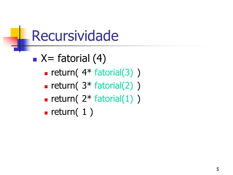 5 Recursividade X= fatorial (4) return( 4* fatorial(3) ) return( 3* fatorial(2) ) return( 2* fatorial(1) ) return( 1 )