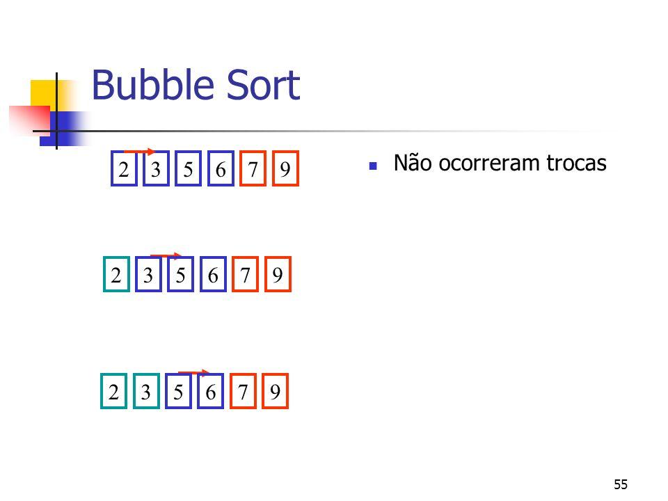 55 Bubble Sort 235679235679235679 Não ocorreram trocas