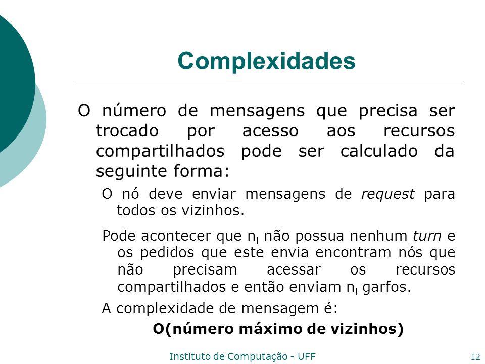 Instituto de Computação - UFF 12 Complexidades O número de mensagens que precisa ser trocado por acesso aos recursos compartilhados pode ser calculado