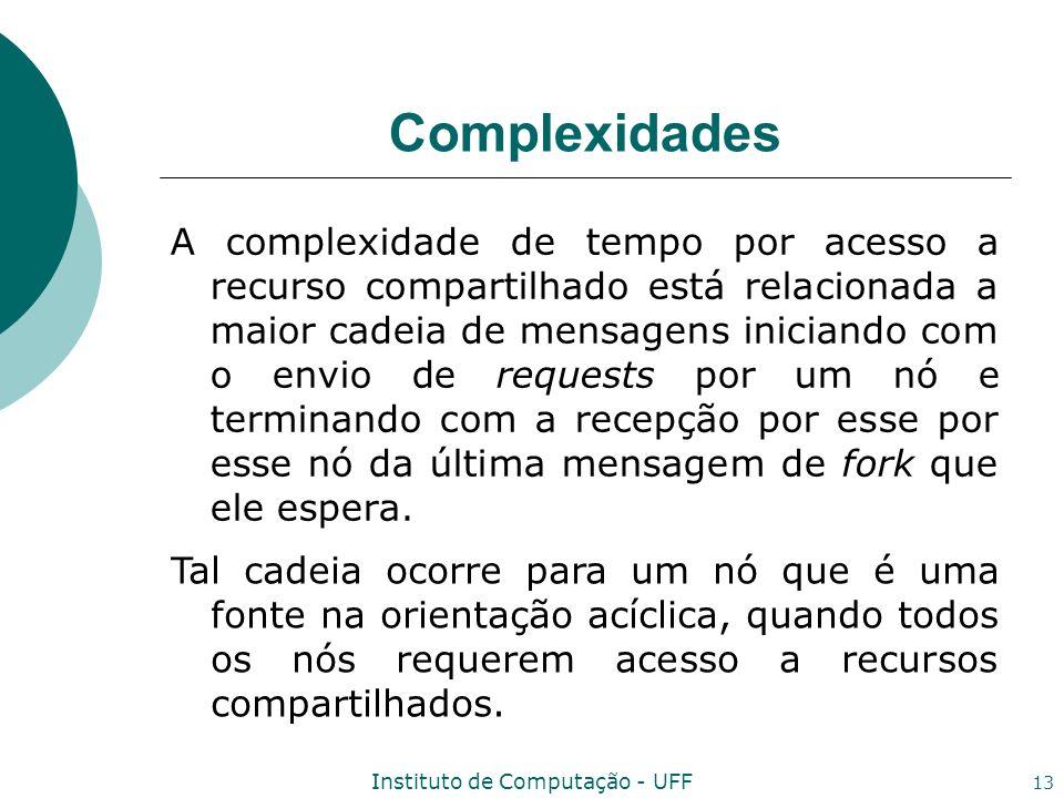 Instituto de Computação - UFF 13 Complexidades A complexidade de tempo por acesso a recurso compartilhado está relacionada a maior cadeia de mensagens