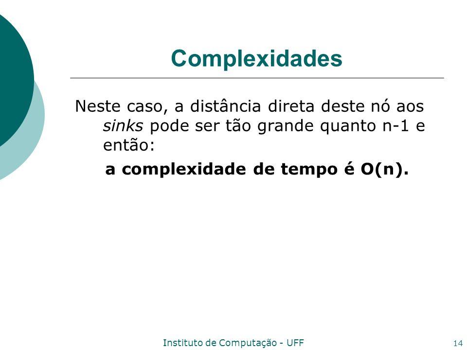 Instituto de Computação - UFF 14 Complexidades Neste caso, a distância direta deste nó aos sinks pode ser tão grande quanto n-1 e então: a complexidad