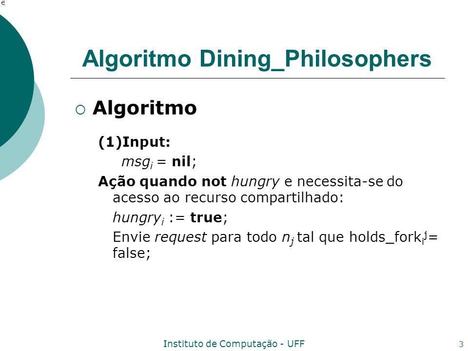 Instituto de Computação - UFF 3 Algoritmo Dining_Philosophers Algoritmo (1)Input: msg i = nil; Ação quando not hungry e necessita-se do acesso ao recu