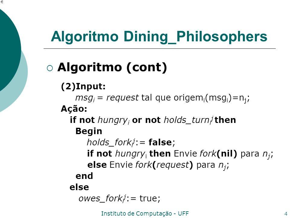 Instituto de Computação - UFF 4 Algoritmo Dining_Philosophers Algoritmo (cont) (2)Input: msg i = request tal que origem i (msg i )=n j ; Ação: if not