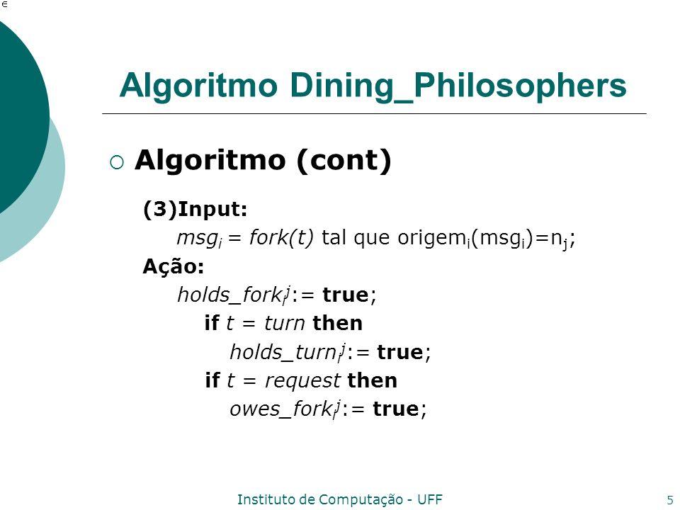 Instituto de Computação - UFF 5 Algoritmo Dining_Philosophers Algoritmo (cont) (3)Input: msg i = fork(t) tal que origem i (msg i )=n j ; Ação: holds_f
