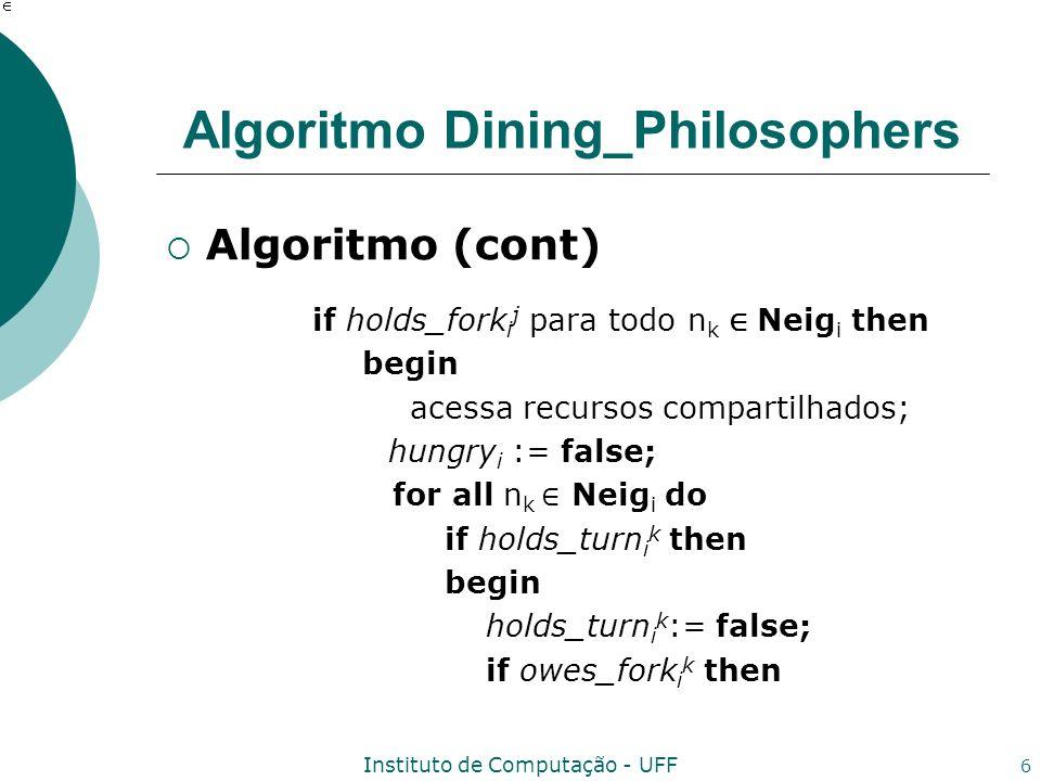 Instituto de Computação - UFF 6 Algoritmo Dining_Philosophers Algoritmo (cont) if holds_fork i j para todo n k Neig i then begin acessa recursos compa