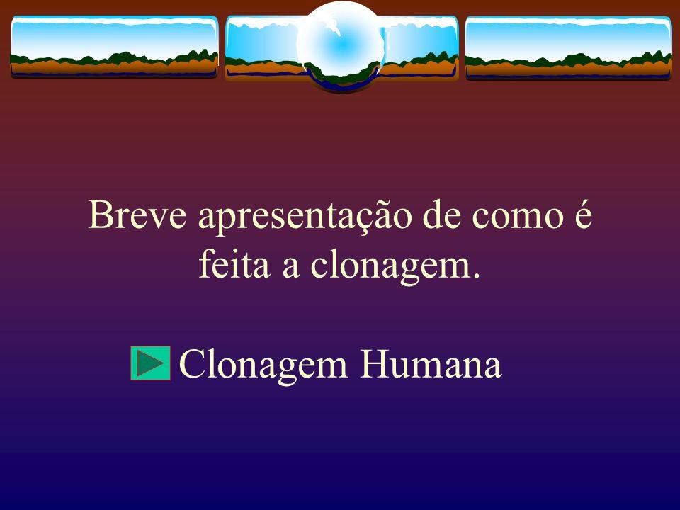 Breve apresentação de como é feita a clonagem. Clonagem Humana