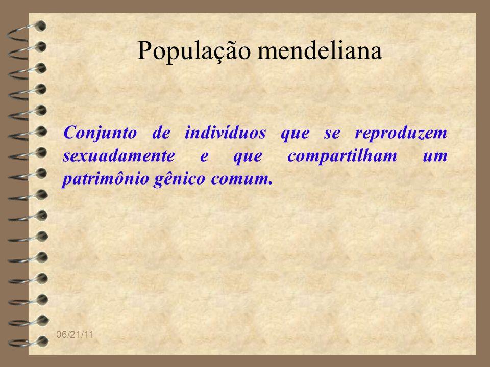 06/21/11 População mendeliana Conjunto de indivíduos que se reproduzem sexuadamente e que compartilham um patrimônio gênico comum.