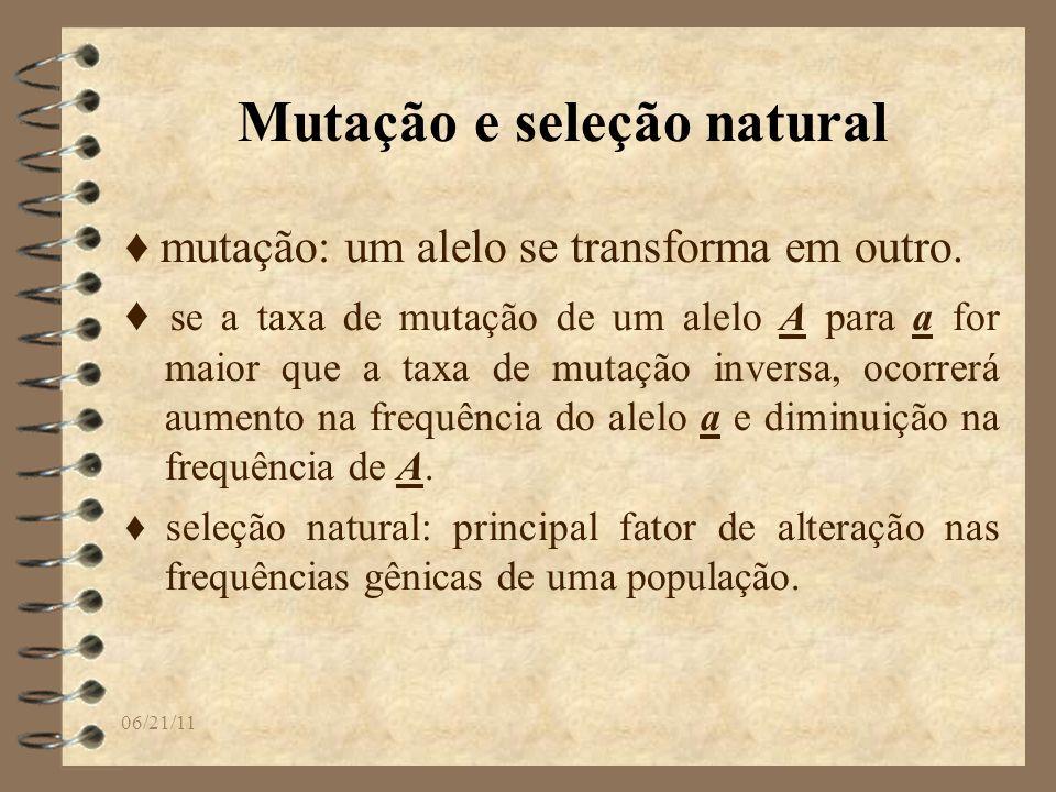 06/21/11 Mutação e seleção natural mutação: um alelo se transforma em outro. se a taxa de mutação de um alelo A para a for maior que a taxa de mutação