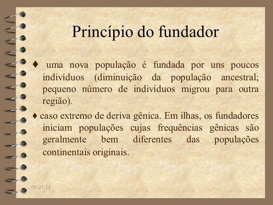 06/21/11 Princípio do fundador uma nova população é fundada por uns poucos indivíduos (diminuição da população ancestral; pequeno número de indivíduos