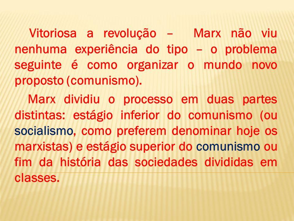 Vitoriosa a revolução – Marx não viu nenhuma experiência do tipo – o problema seguinte é como organizar o mundo novo proposto (comunismo). Marx dividi