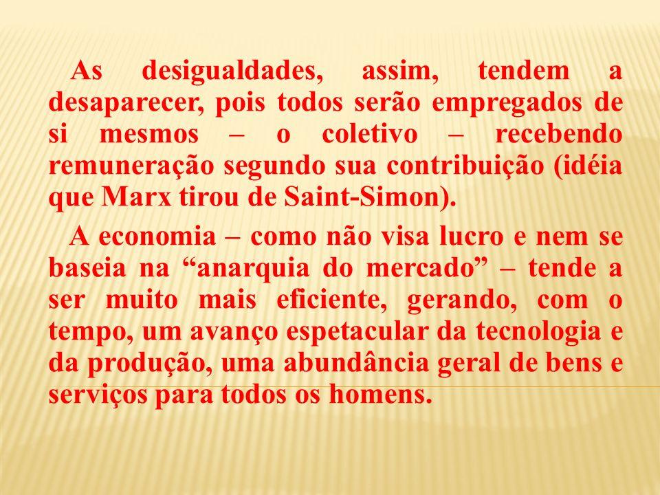 As desigualdades, assim, tendem a desaparecer, pois todos serão empregados de si mesmos – o coletivo – recebendo remuneração segundo sua contribuição