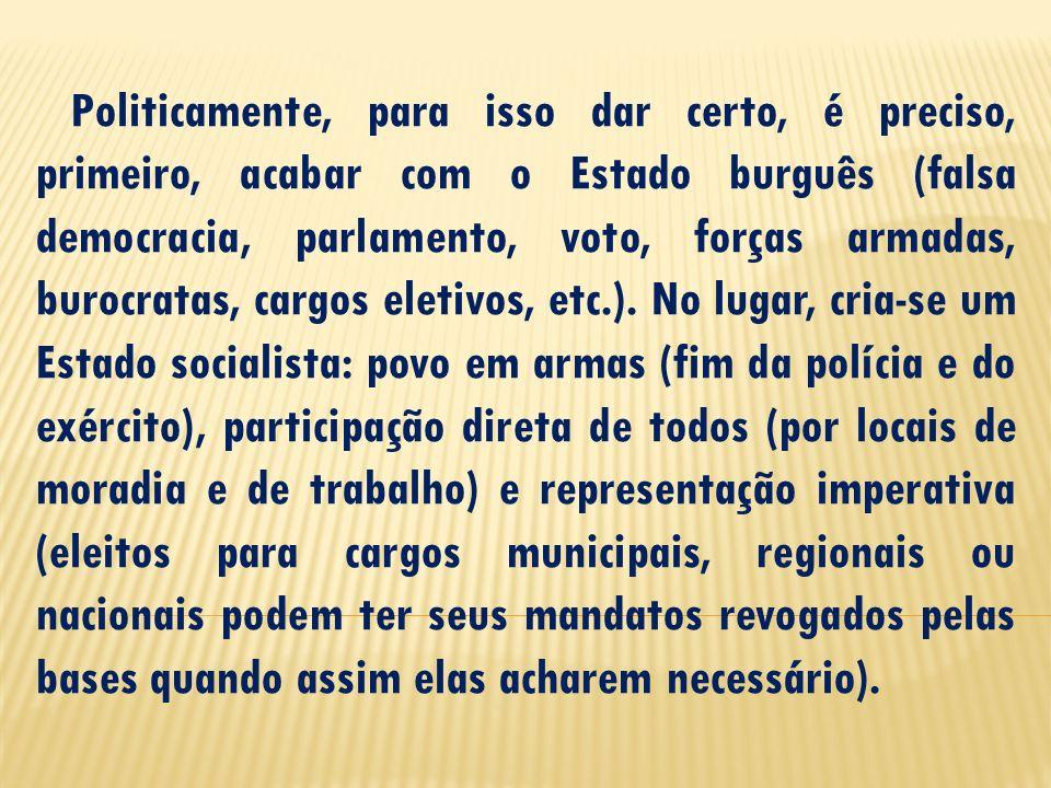 Politicamente, para isso dar certo, é preciso, primeiro, acabar com o Estado burguês (falsa democracia, parlamento, voto, forças armadas, burocratas,