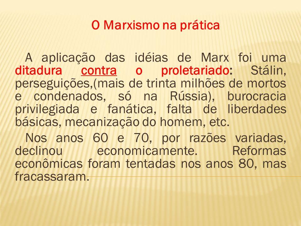 O Marxismo na prática A aplicação das idéias de Marx foi uma ditadura contra o proletariado: Stálin, perseguições,(mais de trinta milhões de mortos e
