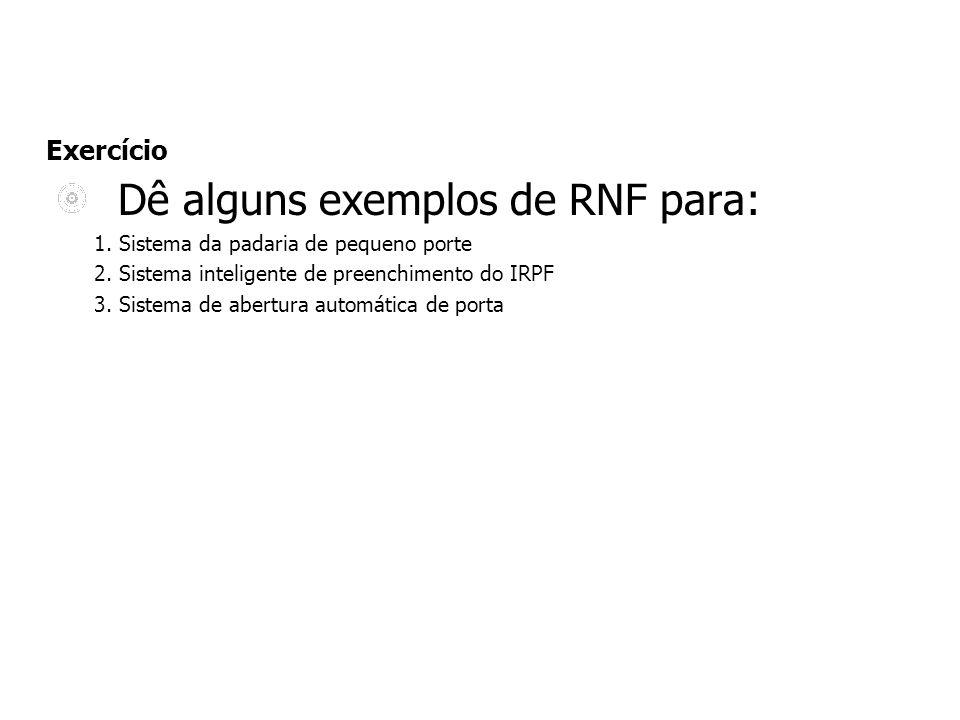 Exercício Dê alguns exemplos de RNF para: 1. Sistema da padaria de pequeno porte 2. Sistema inteligente de preenchimento do IRPF 3. Sistema de abertur