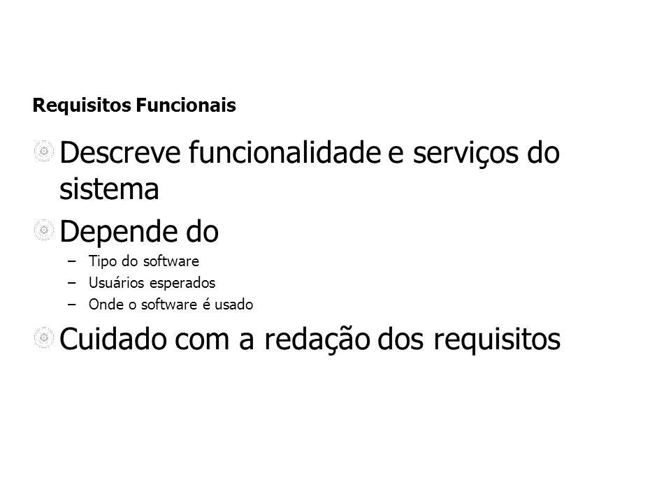 Requisitos Funcionais Descreve funcionalidade e serviços do sistema Depende do –Tipo do software –Usuários esperados –Onde o software é usado Cuidado