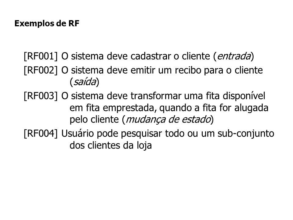 Exemplos de RF [RF001] O sistema deve cadastrar o cliente (entrada) [RF002] O sistema deve emitir um recibo para o cliente (saída) [RF003] O sistema d