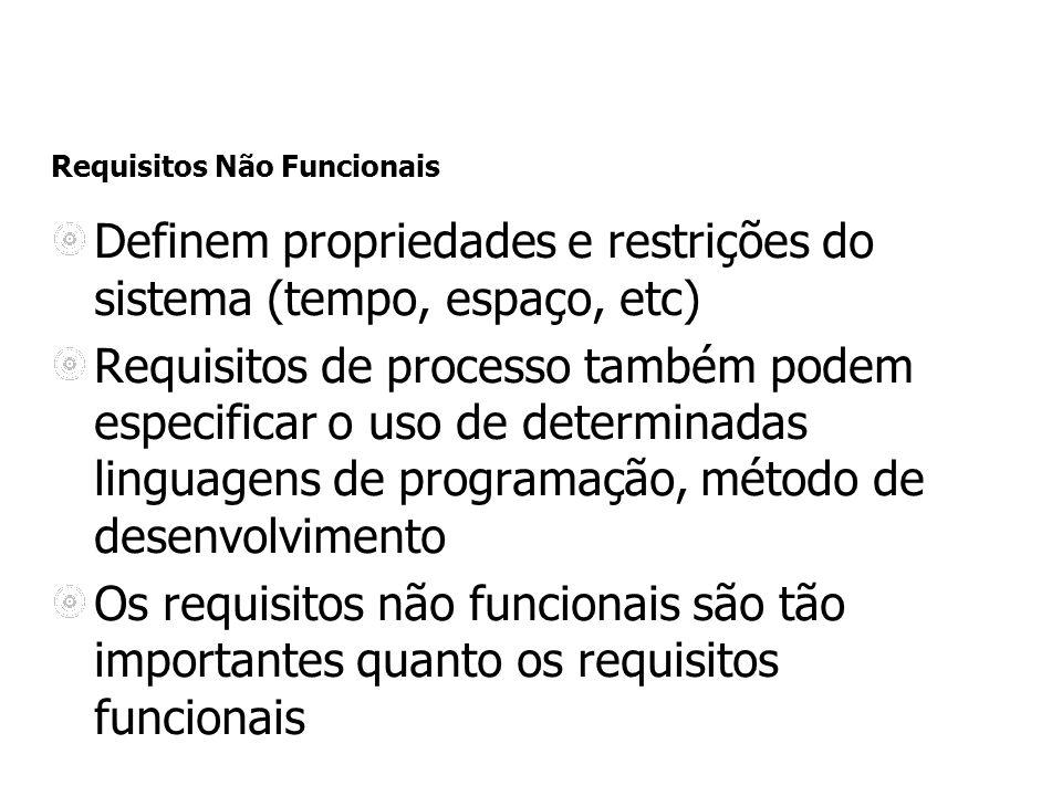 Requisitos Não Funcionais Definem propriedades e restrições do sistema (tempo, espaço, etc) Requisitos de processo também podem especificar o uso de d