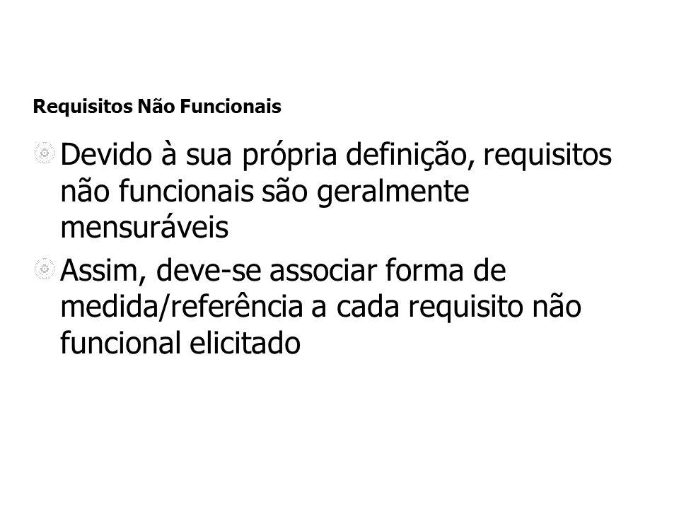 Requisitos Não Funcionais Devido à sua própria definição, requisitos não funcionais são geralmente mensuráveis Assim, deve-se associar forma de medida