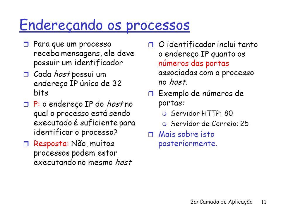 2a: Camada de Aplicação12 Os protocolos da camada de aplicação definem r Tipos de mensagens trocadas, ex.