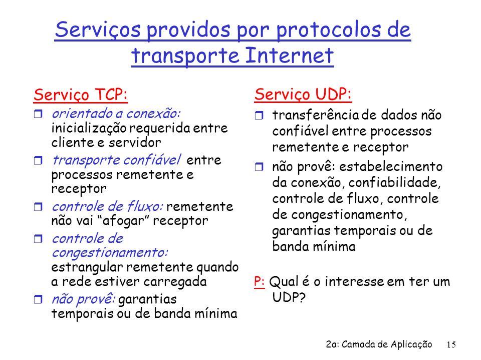 2a: Camada de Aplicação16 Apls Internet: seus protocolos e seus protocolos de transporte Aplicação correio eletrônico acesso terminal remoto WWW transferência de arquivos streaming multimídia telefonia Internet Protocolo da camada de apl SMTP [RFC 2821] telnet [RFC 854] HTTP [RFC 2616] ftp [RFC 959] proprietário (p.ex.
