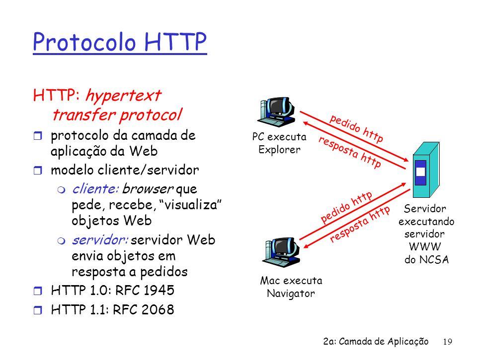 2a: Camada de Aplicação20 Mais sobre o protocolo HTTP Usa serviço de transporte TCP: r cliente inicia conexão TCP (cria socket) ao servidor, porta 80 r servidor aceita conexão TCP do cliente r mensagens HTTP (mensagens do protocolo da camada de apl) trocadas entre browser (cliente HTTP) e servidor Web (servidor HTTP) r encerra conexão TCP HTTP é sem estado r servidor não mantém informação sobre pedidos anteriores do cliente Protocolos que mantêm estado são complexos.