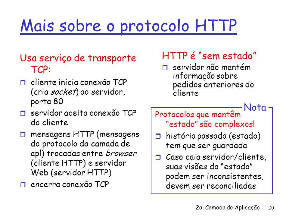 2a: Camada de Aplicação21 Conexões HTTP HTTP não persistente r No máximo um objeto é enviado numa conexão TCP r HTTP/1.0 usa o HTTP não persistente HTTP persistente r Múltiplos objetos podem ser enviados sobre uma única conexão TCP entre cliente e servidor r HTTP/1.1 usa conexões persistentes no seu modo default