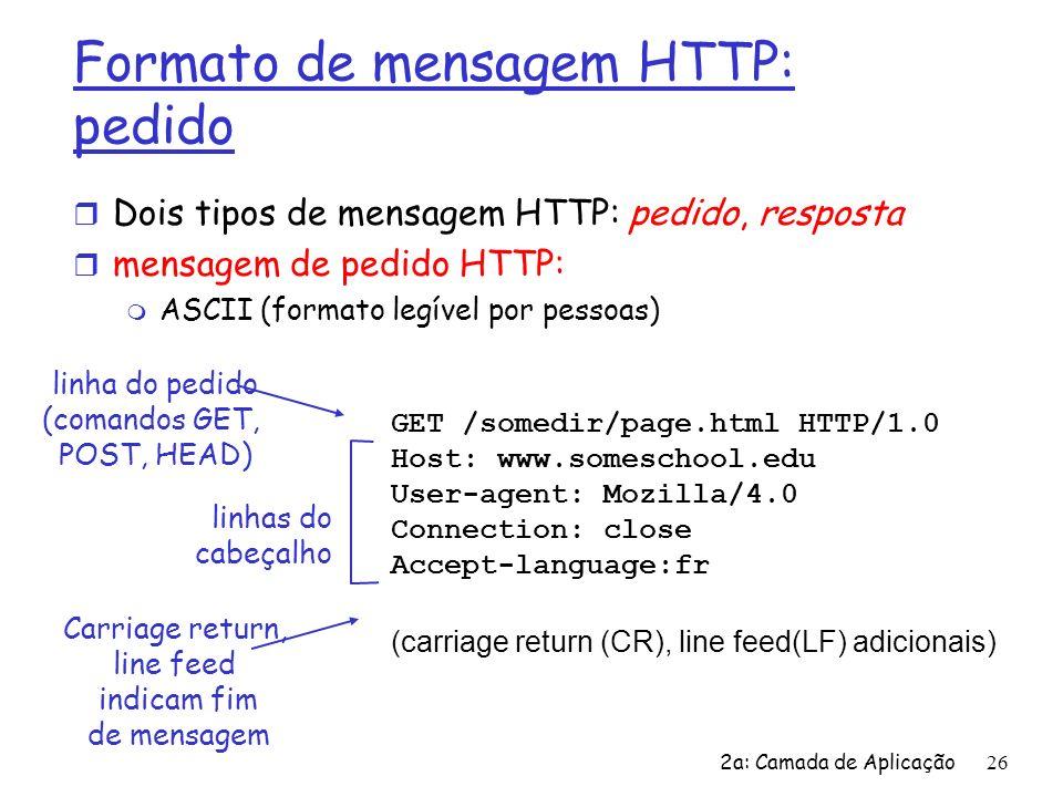 2a: Camada de Aplicação27 Mensagem de pedido HTTP: formato geral