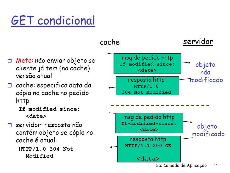 2a: Camada de Aplicação42 Capítulo 2: Roteiro r 2.1 Princípios dos protocolos da camada de aplicação r 2.2 Web e HTTP r 2.3 FTP r 2.4 Correio Eletrônico m SMTP, POP3, IMAP r 2.5 DNS r 2.6 Compartilhamento de arquivos P2P r 2.7 Programação de Sockets com TCP r 2.8 Programação de Sockets com UDP r 2.9 Construindo um servidor Web