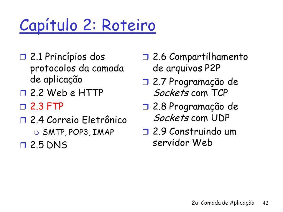 2a: Camada de Aplicação43 FTP: o protocolo de transferência de arquivos r transferir arquivo de/para hospedeiro remoto r modelo cliente/servidor m cliente: lado que inicia transferência (pode ser de ou para o sistema remoto) m servidor: hospedeiro remoto r ftp: RFC 959 r servidor ftp: porta 21 transferência do arquivo FTP servidor Interface do usuário FTP cliente FTP sistema de arquivos local sistema de arquivos remoto usuário na estação