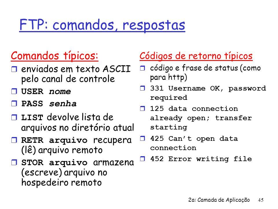 2a: Camada de Aplicação46 Capítulo 2: Roteiro r 2.1 Princípios dos protocolos da camada de aplicação r 2.2 Web e HTTP r 2.3 FTP r 2.4 Correio Eletrônico m SMTP, POP3, IMAP r 2.5 DNS r 2.6 Compartilhamento de arquivos P2P r 2.7 Programação de Sockets com TCP r 2.8 Programação de Sockets com UDP r 2.9 Construindo um servidor Web