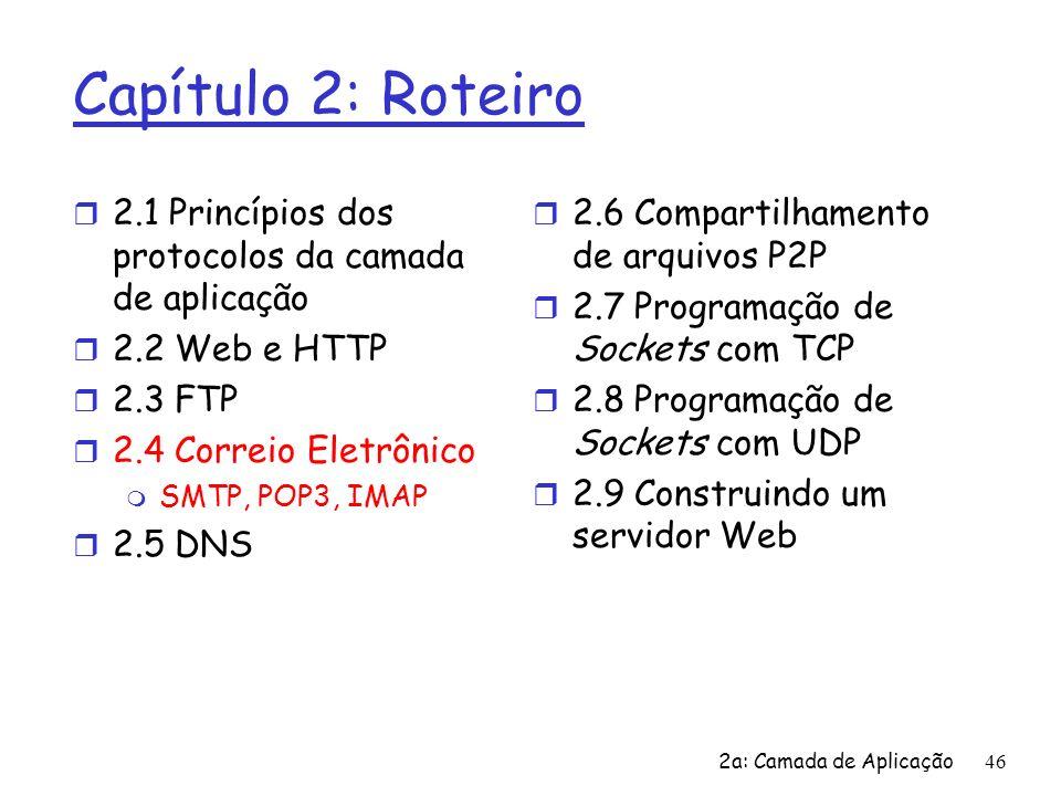 2a: Camada de Aplicação47 Correio Eletrônico Três grandes componentes: r agentes de usuário (UA) r servidores de correio r simple mail transfer protocol: SMTP Agente de Usuário r a.k.a.