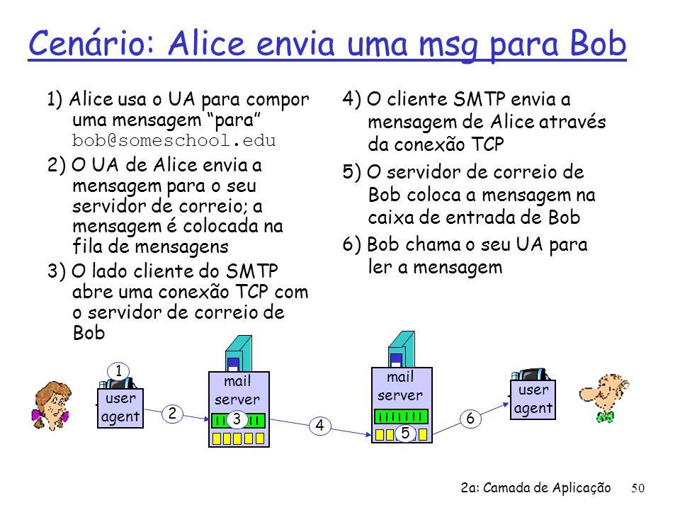 2a: Camada de Aplicação51 Interação SMTP típica S: 220 doces.br C: HELO consumidor.br S: 250 Hello consumidor.br, pleased to meet you C: MAIL FROM: S: 250 ana@consumidor.br...