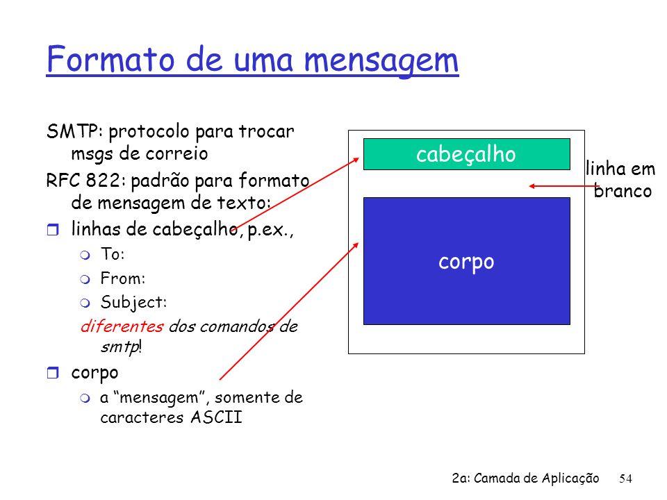 2a: Camada de Aplicação55 Formato de uma mensagem: extensões para multimídia r MIME: multimedia mail extension, RFC 2045, 2056 r linhas adicionais no cabeçalho da msg declaram tipo do conteúdo MIME From: ana@consumidor.br To: bernardo@doces.br Subject: Imagem de uma bela torta MIME-Version: 1.0 Content-Transfer-Encoding: base64 Content-Type: image/jpeg base64 encoded data....................................base64 encoded data tipo, subtipo de dados multimídia, declaração parâmetros método usado p/ codificar dados versão MIME Dados codificados