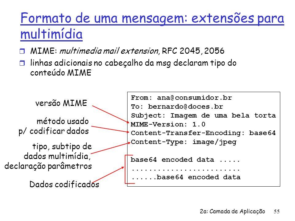 2a: Camada de Aplicação56 Tipos MIME Content-Type: tipo/subtipo; parâmetros Text subtipos exemplos: plain, html r charset=iso-8859-1, ascii Image subtipos exemplos : jpeg, gif Video subtipos exemplos : mpeg, quicktime Audio subtipos exemplos : basic (8-bit codificado mu-law), 32kadpcm (codificação 32 kbps) Application r outros dados que precisam ser processados por um leitor para serem visualizados subtipos exemplos : msword, octet-stream
