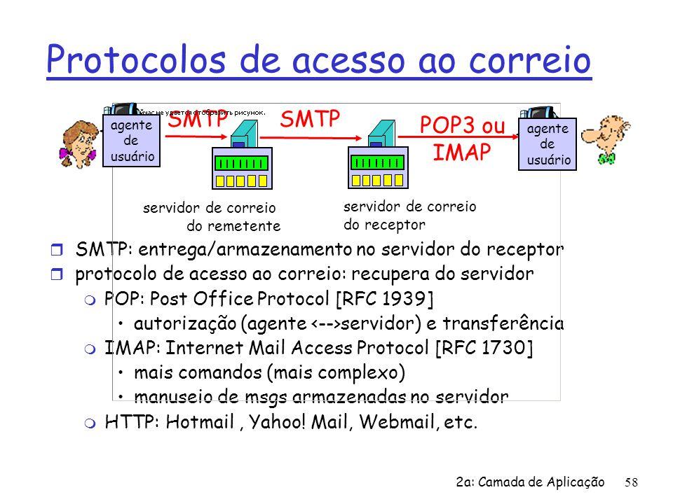 2a: Camada de Aplicação59 Protocolo POP3 fase de autorização r comandos do cliente: user: declara nome pass: senha r servidor responde m +OK -ERR fase de transação, cliente: list: lista números das msgs retr: recupera msg por número dele: apaga msg r quit C: list S: 1 498 S: 2 912 S:.