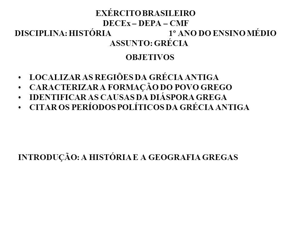 EXÉRCITO BRASILEIRO DECEx – DEPA – CMF DISCIPLINA: HISTÓRIA 1º ANO DO ENSINO MÉDIO ASSUNTO: GRÉCIA OBJETIVOS LOCALIZAR AS REGIÕES DA GRÉCIA ANTIGA CAR