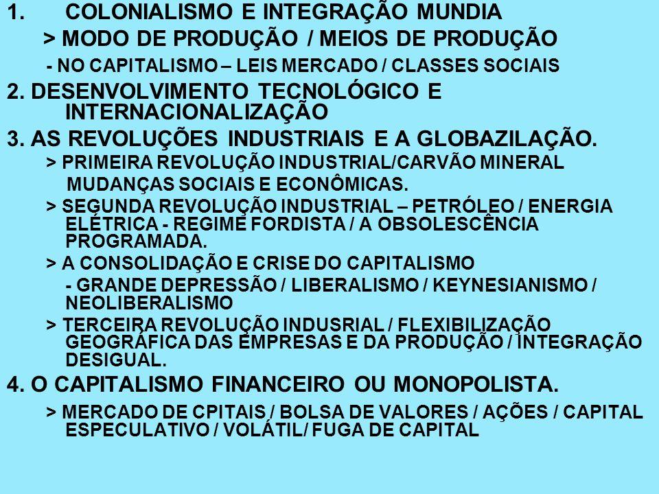 1.COLONIALISMO E INTEGRAÇÃO MUNDIA > MODO DE PRODUÇÃO / MEIOS DE PRODUÇÃO - NO CAPITALISMO – LEIS MERCADO / CLASSES SOCIAIS 2. DESENVOLVIMENTO TECNOLÓ