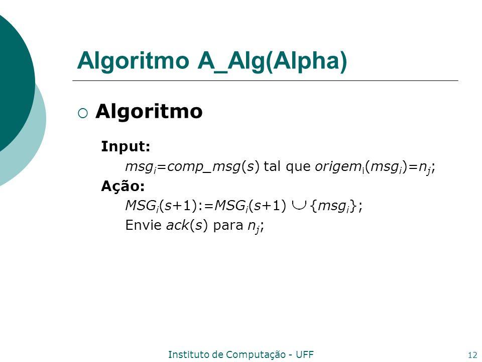 Instituto de Computação - UFF 12 Algoritmo A_Alg(Alpha) Algoritmo Input: msg i =comp_msg(s) tal que origem i (msg i )=n j ; Ação: MSG i (s+1):=MSG i (
