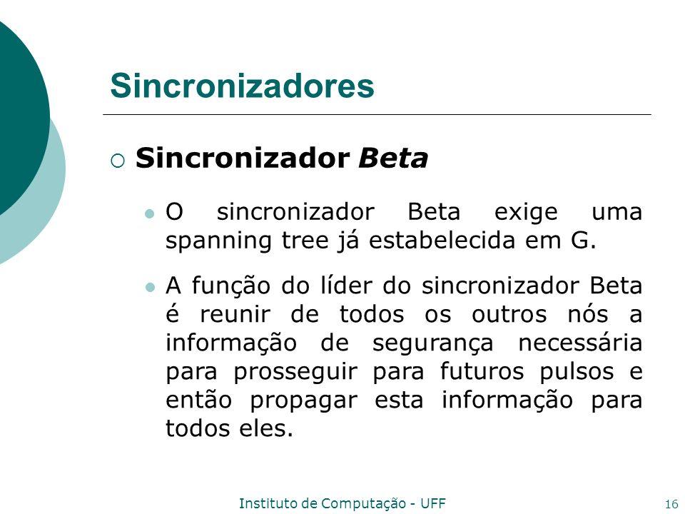 Instituto de Computação - UFF 16 Sincronizadores Sincronizador Beta O sincronizador Beta exige uma spanning tree já estabelecida em G. A função do líd