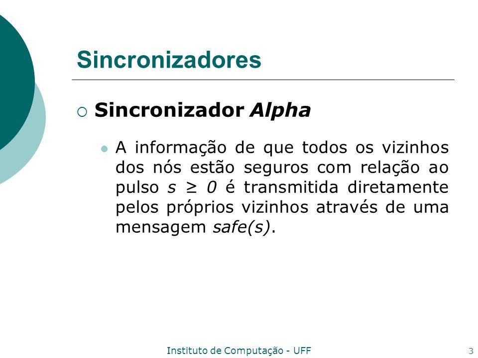 Instituto de Computação - UFF 4 Sincronizadores Sincronizador Alpha Um nó pode prosseguir para o pulso s+1 quando receber uma mensagem safe(s) de todos os seus vizinhos.