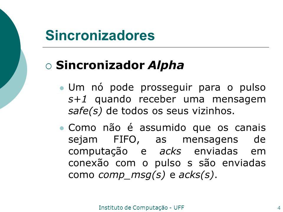 Instituto de Computação - UFF 4 Sincronizadores Sincronizador Alpha Um nó pode prosseguir para o pulso s+1 quando receber uma mensagem safe(s) de todo
