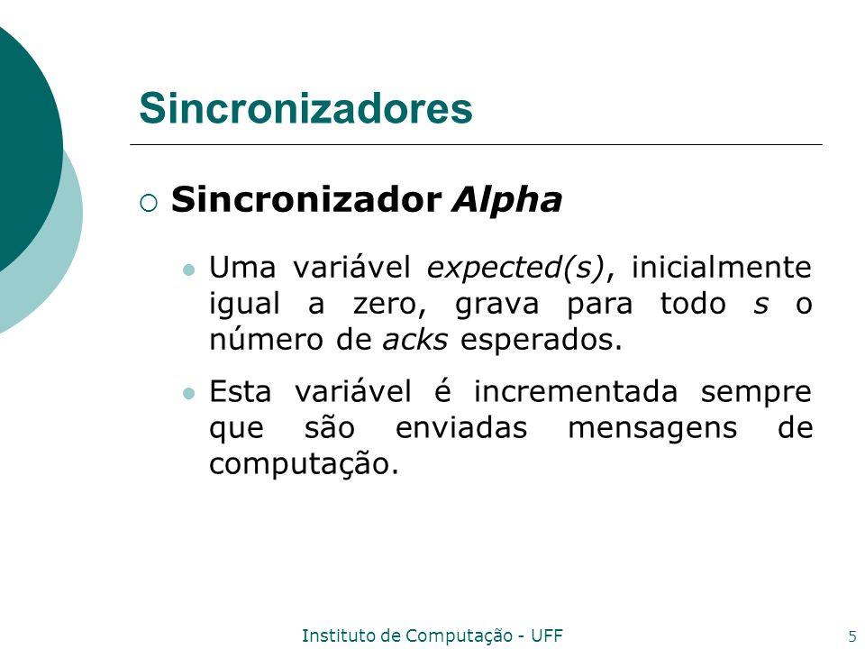 Instituto de Computação - UFF 5 Sincronizadores Sincronizador Alpha Uma variável expected(s), inicialmente igual a zero, grava para todo s o número de
