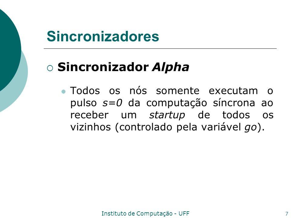 Instituto de Computação - UFF 8 Algoritmo A_Alg(Alpha) Variáveis s i :=0; msg i (s):=0 para todo s; initiaded i :=false; go i j :=false; expected i (s):=0 para todo s; safe i j (s):=false para todo n j viz e para todo s;