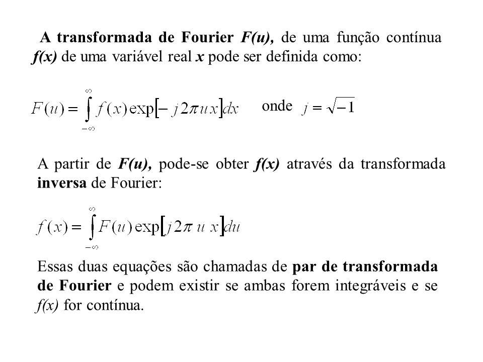 onde A transformada de Fourier F(u), de uma função contínua f(x) de uma variável real x pode ser definida como: A partir de F(u), pode-se obter f(x) a
