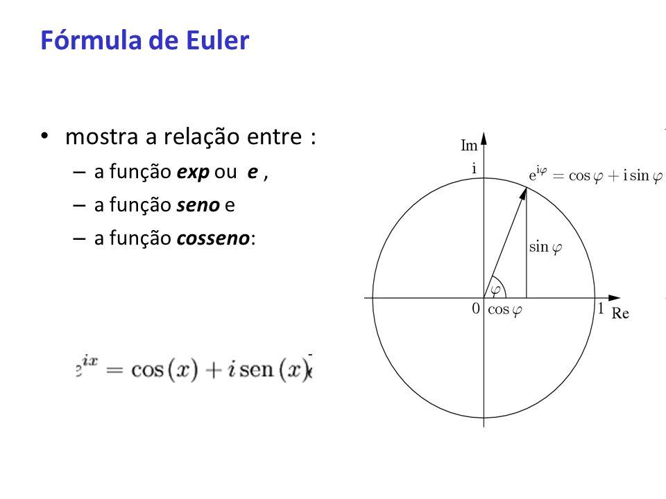 Fórmula de Euler mostra a relação entre : – a função exp ou e, – a função seno e – a função cosseno: