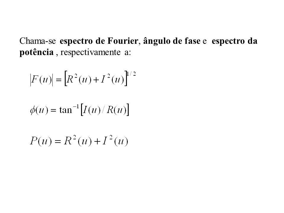 Chama-se espectro de Fourier, ângulo de fase e espectro da potência, respectivamente a:
