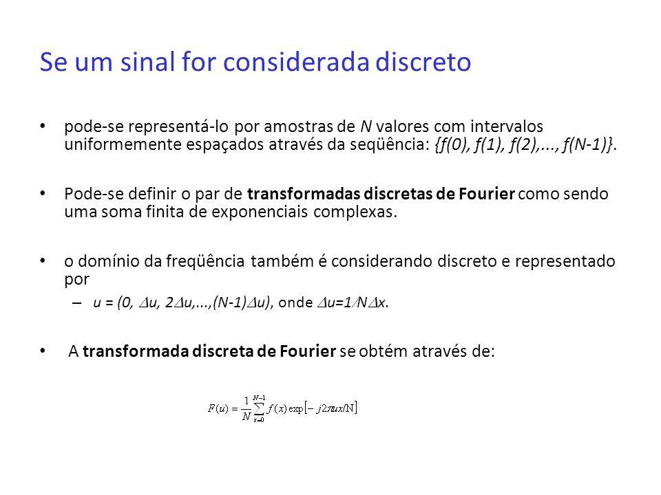 Se um sinal for considerada discreto pode-se representá-lo por amostras de N valores com intervalos uniformemente espaçados através da seqüência: {f(0