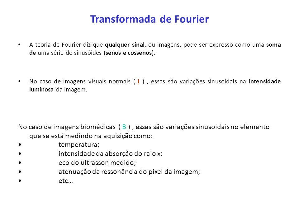 Transformada de Fourier A teoria de Fourier diz que qualquer sinal, ou imagens, pode ser expresso como uma soma de uma série de sinusóides (senos e co